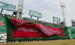 Giant 2013 championship banner for Boston Red Sox