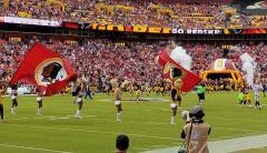 Custom hand sewn football flags for Washington Redskins