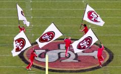 Applique run out flags for San Francisco 49ers