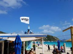 Custom flag for Soggy Dollar beach bar