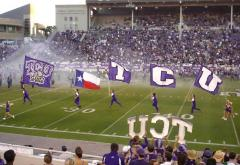 TCU applique cheerleading flags