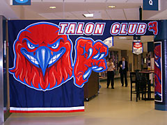 Appliqued 'Talon Club' entry decoration for UMass-Lowell Athletics