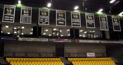 Hand sewn applique championship banners for Utah Valley University