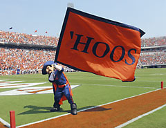'Hoos' applique cheer flag for the University of Virginia