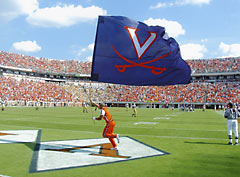 Hand sewn V-sabre spirit flag for the University of Virginia