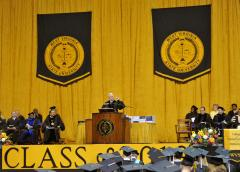 West Virginia school seal banners for commencement