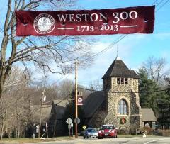 Applique street banner for the town of Weston