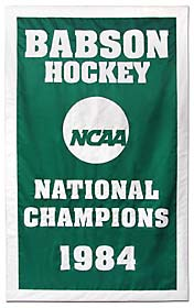 Hand sewn Babson hockey 1984 NCAA National Champions