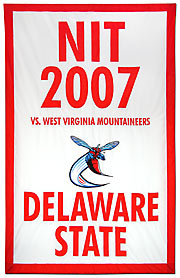 Hand sewn Delaware State NIT 2007 banner