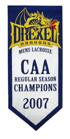 Hand sewn Drexel 2007 CAA Champions banner
