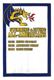 Custom sewn Drexel Swimming All Americans add a player banner