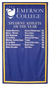 Emerson Student Athlete of the Year sewn fabric banner