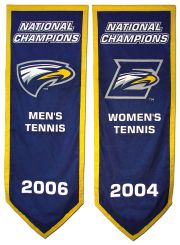Hand-sewn Emory National Champions banners