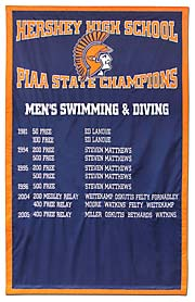 Applique Hershey High School Swimming State Champions banner