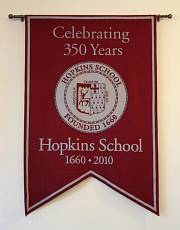 Hopkins School custom hand-sewn banner