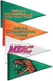 Hand sewn MEAC pennants
