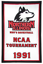 Hand-sewn Northern Illinois University championship banner