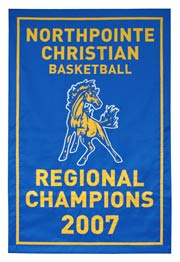 Hand-sewn Northpointe Christian high school 2007 Regional Champions banner