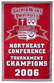 Hand-sewn Sacred Heart Conference Tournament Champions banner