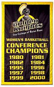College of St. Rose Conference Champions add-a-year banner, hand-sewn