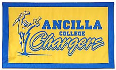 Hand-sewn Ancilla Chargers travel logo banner