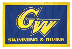 GW Swimming and Diving hand-sewn travel banner
