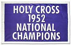 Applique Holy Cross 1952 National Champions flag