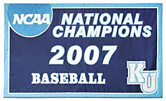 Kean University 2007 NCAA National Champions banner, hand-sewn
