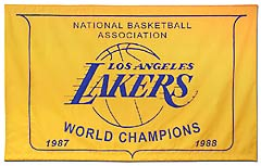 Hand-sewn Los Angeles Lakers championship banner