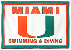 Miami University Swimming and Diving hand-sewn travel banner