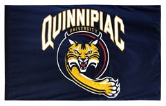 Quinnipiac University hand-sewn cheer flag