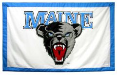 Hockey East Conference, University of Maine logo banner, hand-sewn fabric