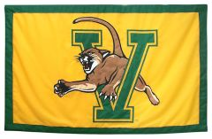 Hockey East Conference, University of Vermont logo banner, hand-sewn fabric
