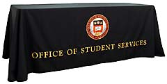 Custom table throw for Boston College Student Services