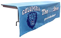 Custom sewn table throw: Columbia University Lion Store
