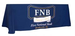 First National Bank logo table drape