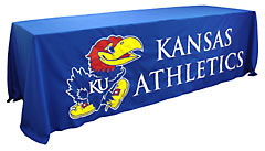 Custom sewn applique table throw: Kansas Athletics