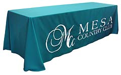 Custom hand-sewn tablecloth with logo