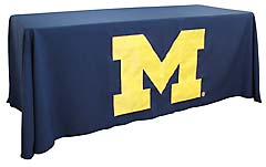 Hand sewn applique table throw: University of Michigan