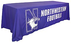 Custom sewn table throw: Northwestern Football