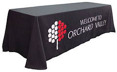 Custom Orchard Valley logo table drape