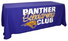 Custom sewn applique table throw: Panther Scholarship Club