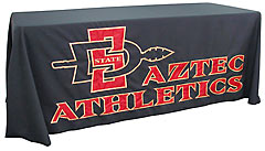 Custom hand-sewn table throw: San Diego State University Aztec Athletics