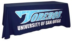 Custom sewn applique table throw: University of San Diego Toreros