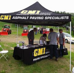 Custom applique tent for GMI Asphalt
