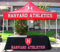 Harvard Athletics custom applique tent and table throw