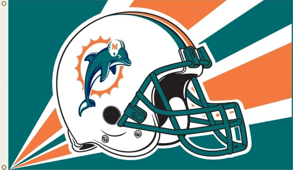 Miami Dolphins Helmet Logo Flag  3x5  Dolphins Helmet Logo